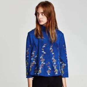 Faux suede embroidered top
